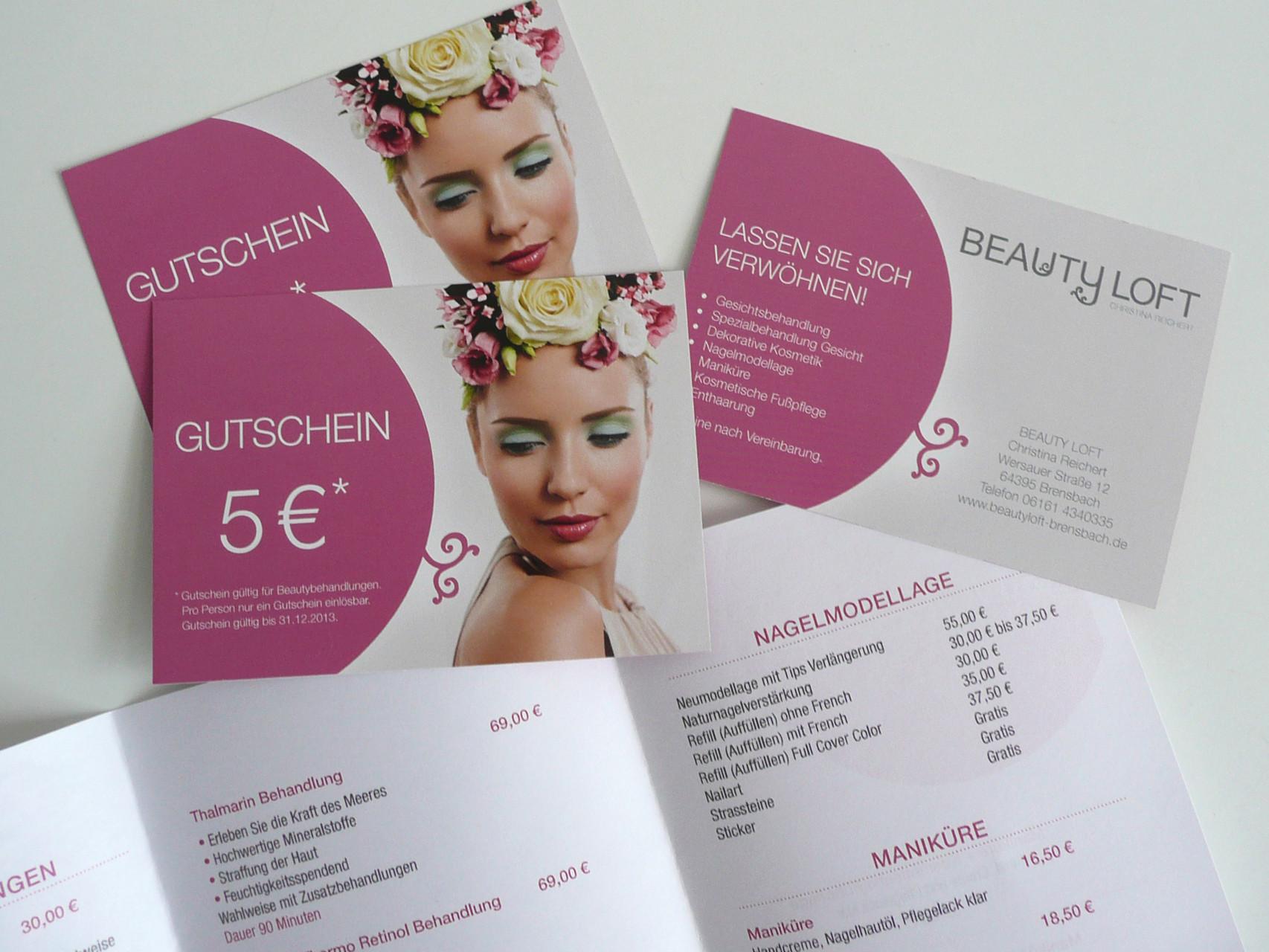 Corporate Design, Logoentwicklung, Logo, Grafikdesign, Grafik, Gestaltung, Beautyloft Gutscheine