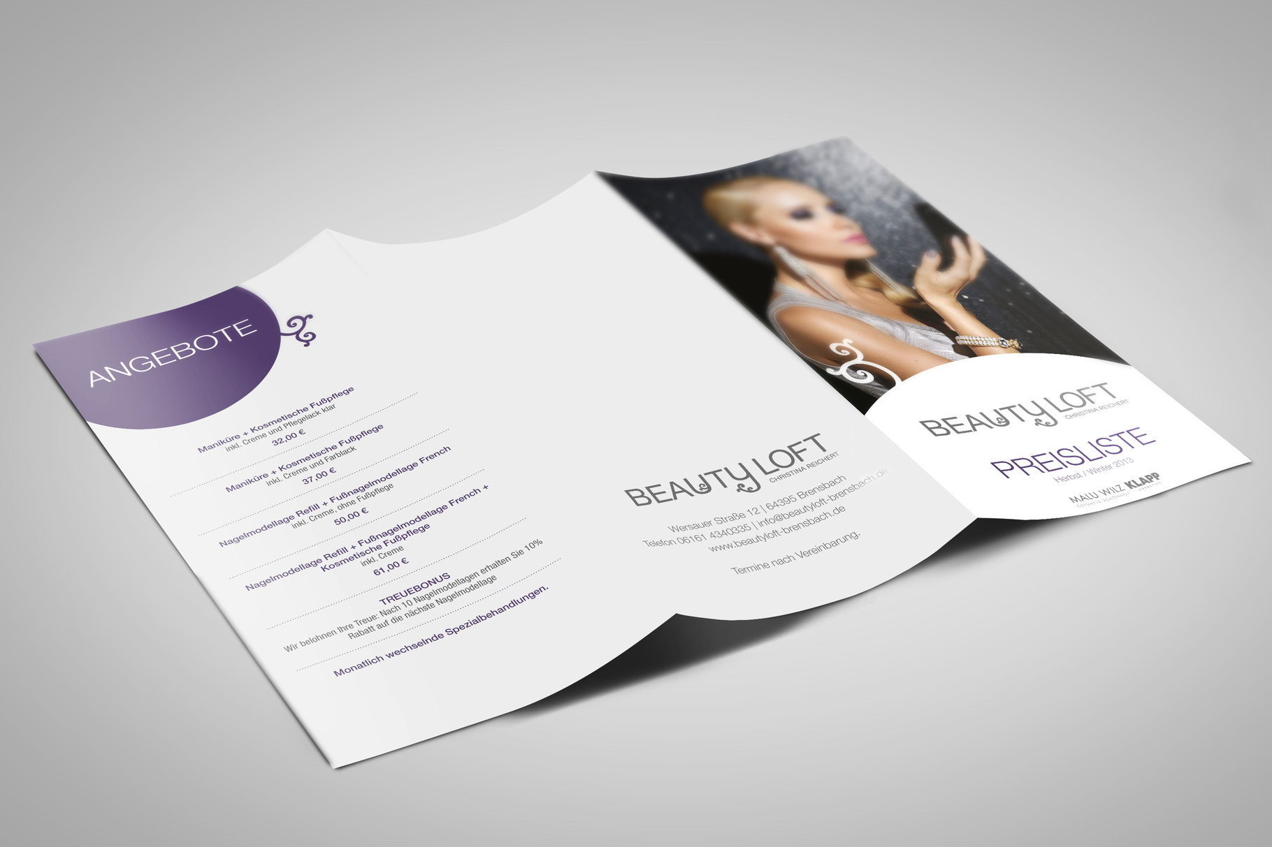 Corporate Design, Logoentwicklung, Logo, Grafikdesign, Grafik, Gestaltung, Beautyloft Preisliste Winter