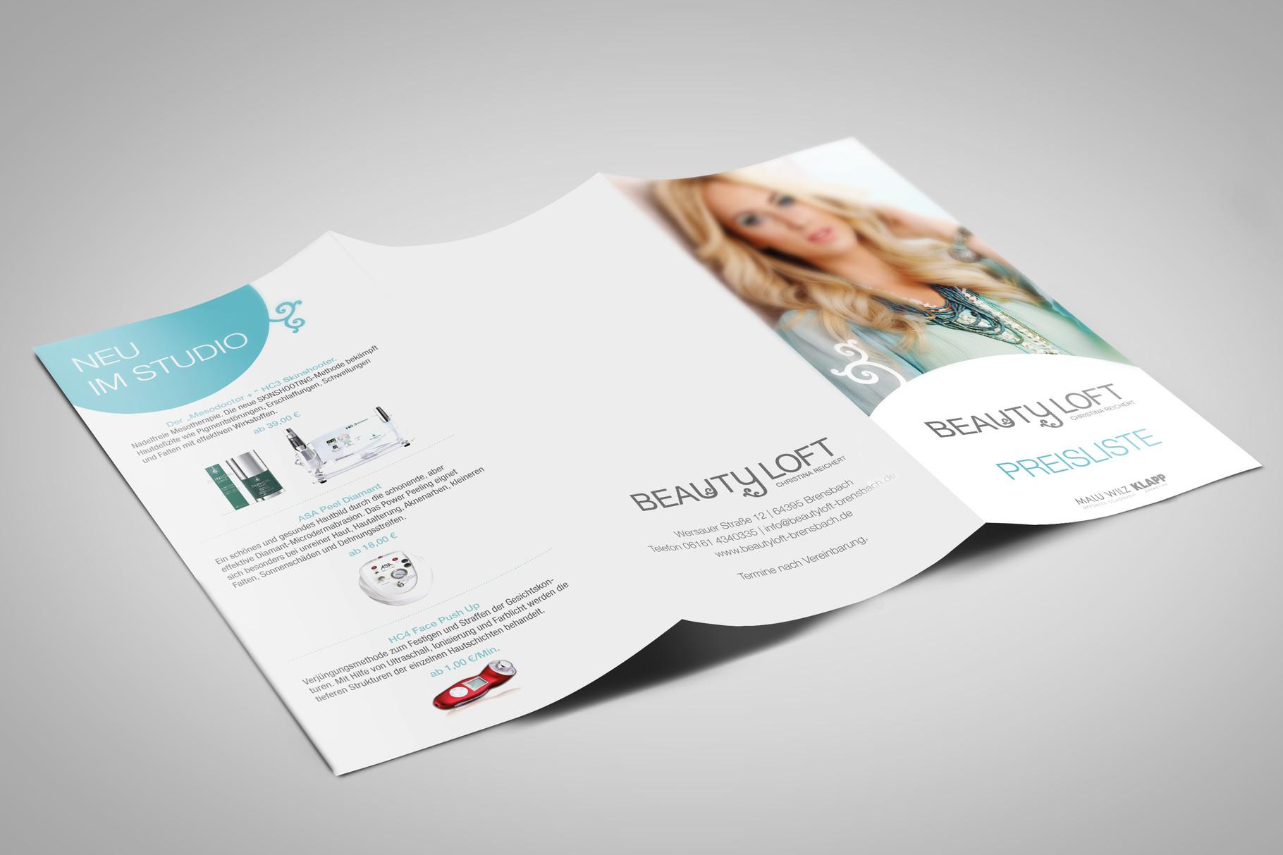 Corporate Design, Logoentwicklung, Logo, Grafikdesign, Grafik, Gestaltung, Beautyloft Preisliste Sommer