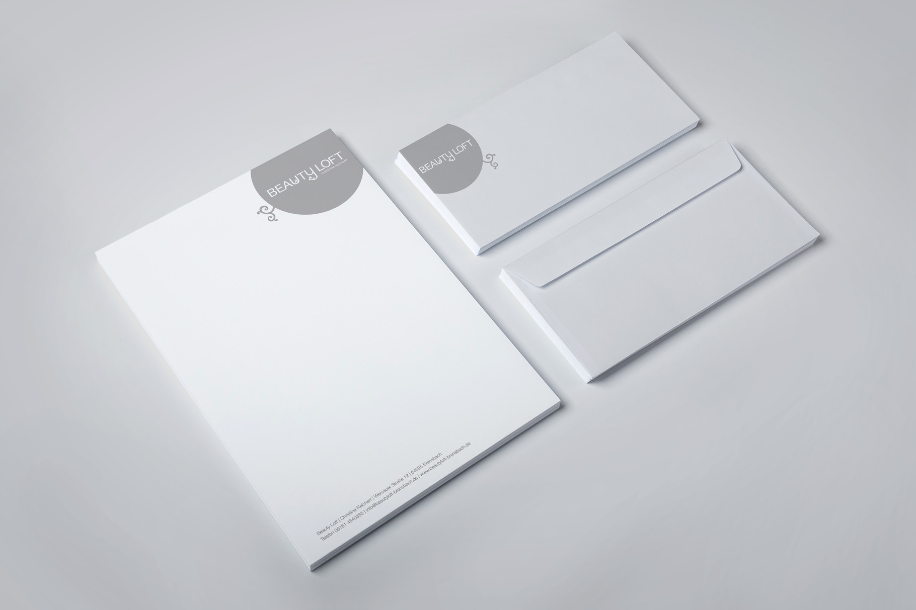 Corporate Design, Logoentwicklung, Logo, Grafikdesign, Grafik, Gestaltung, Beautyloft Briefpapier