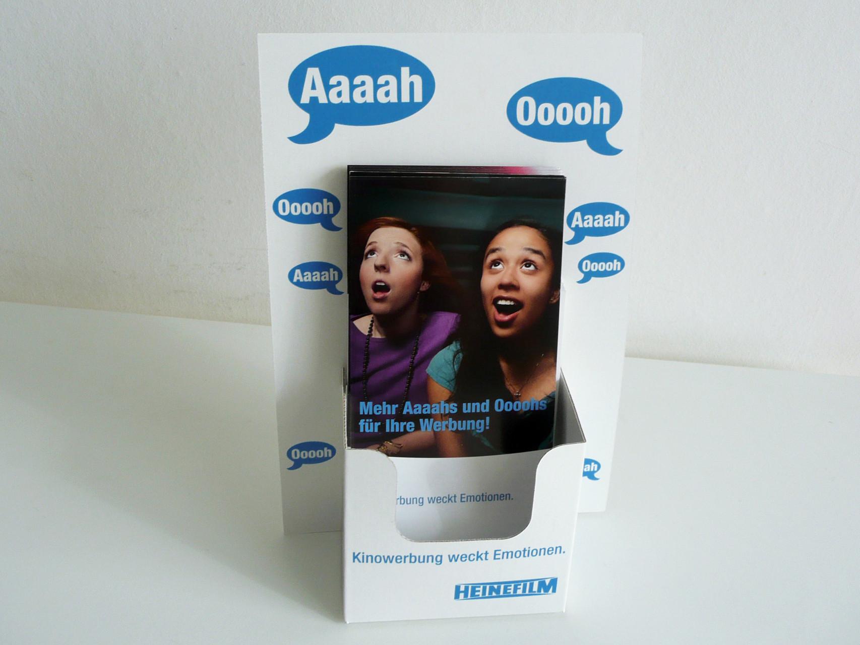 Grafikdesign, Grafik, Gestaltung, Heinefilm Kampagne Ahh und Ohh, Aufsteller