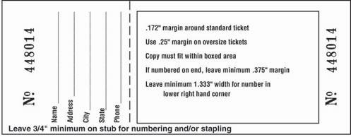ticket stub size