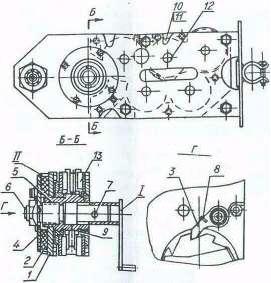 Рис. 5-Подъемная лебедка:  1, 4 - диски; 2 - храповик; 3 - собачка; 5, 10, 11 - шестерни; 6, 12 - оси; 7 -  штифт; 8 - пружина; 9 - подшипник; 13 - вкладыш