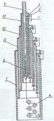 Рис. 6. Схема заделки троса:  1,2,3- ролики; А - шестерня; 5 - натяжное устройство; I, II, III, IV, V -секции /в указанном  порядке/