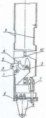 Рис. 3. Подвижная секция: 1, 6 - корпусы; 2 - собачка; 3 - ролик; 4 - рычаг; 5 -  пружина; 7 - блок; 8 - хвостовик; 9 - окна; 10 – шпонка