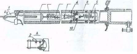 Рис. 4. Подвижная секция V.  1 - хвостовик; 2, 7 - накладки; 3 - рейка; 4, 10 – винты;  5,6- пружины; 8, 9 – трубы
