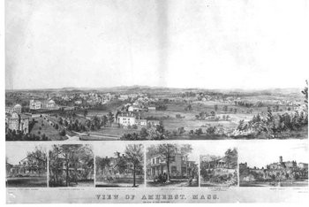 Birds-eye-view lithograph of Amherst. Includes insets: Residence of Prof. Edward Hitchcock, Residence of L.S. Sweetser, esq.; Residence of Hon. Edward Dickinson; Residence of Prof. W.S. Clark; Mount Pleasant Institute; Amherst College.