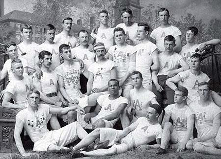 "The Amherst track team in 1890, with Jackson in the front row, second from left. Copied from ""A Slice Of History"" Evan J AlbrightAmherst Magazine 2007. Click link below to read article."