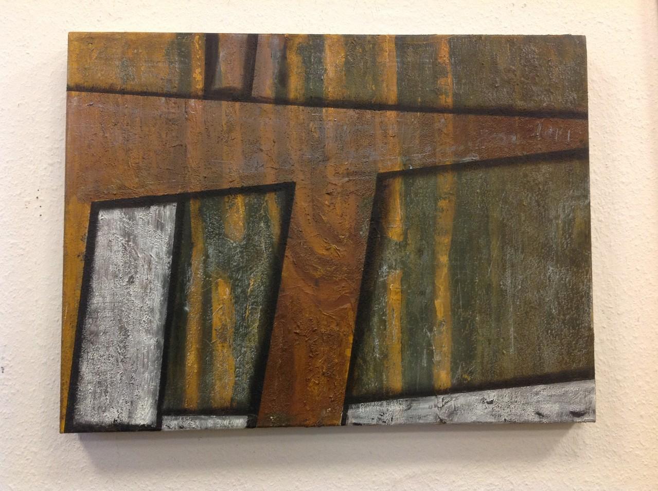 Dietmar Krause, Acryl und Flüssigmetall, teils oxidiert auf Leinwand, 60 x 80cm