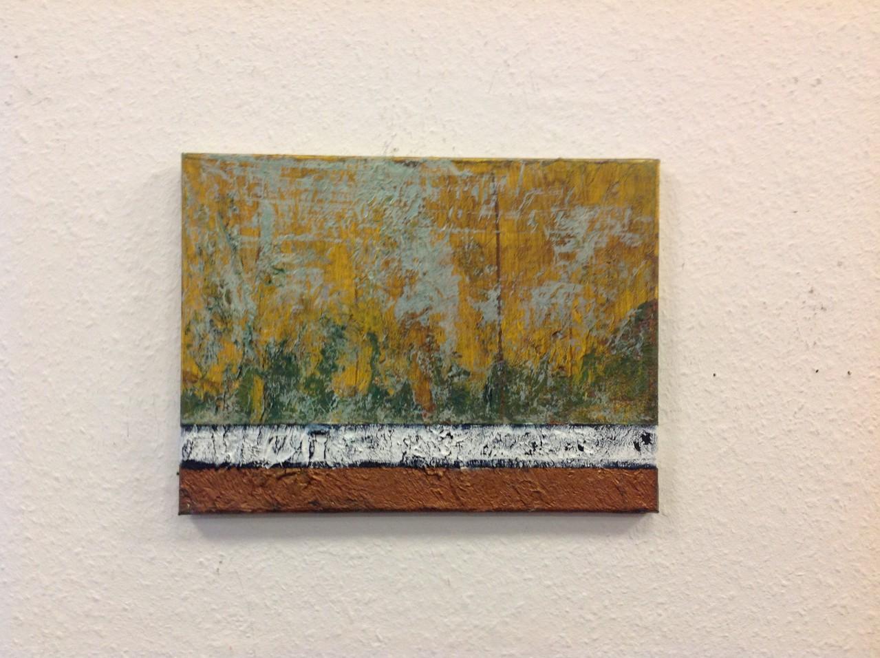 Dietmar Krause, Acryl und Flüssigmetall, teils oxidiert auf Leinwand, 30 x 40cm