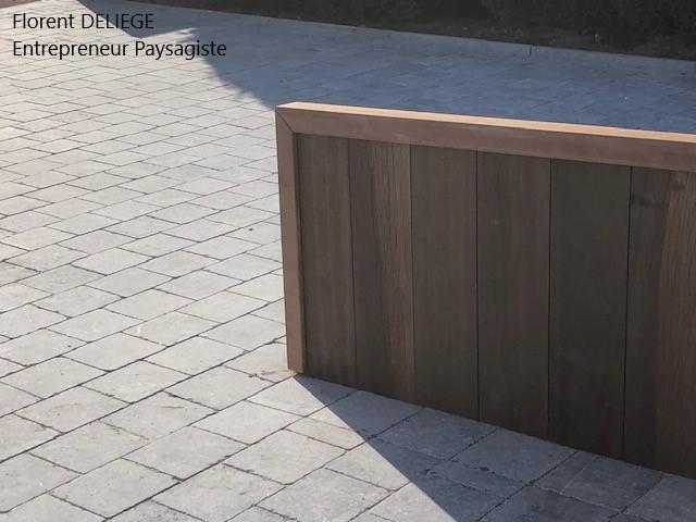 muret palplanche azobé et pavés pierre bleue belge,  contemporary landscaping , entreprise aménagement extérieur contemporain et design