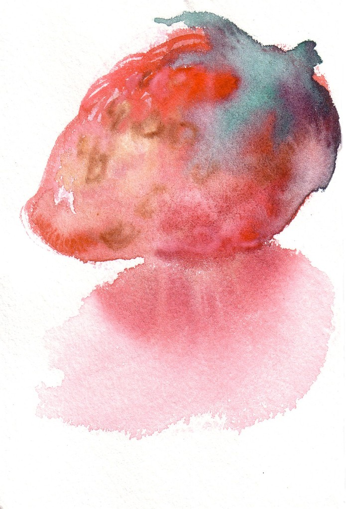 """いちご""  watercolor,paper 10×14.8cm,2002"