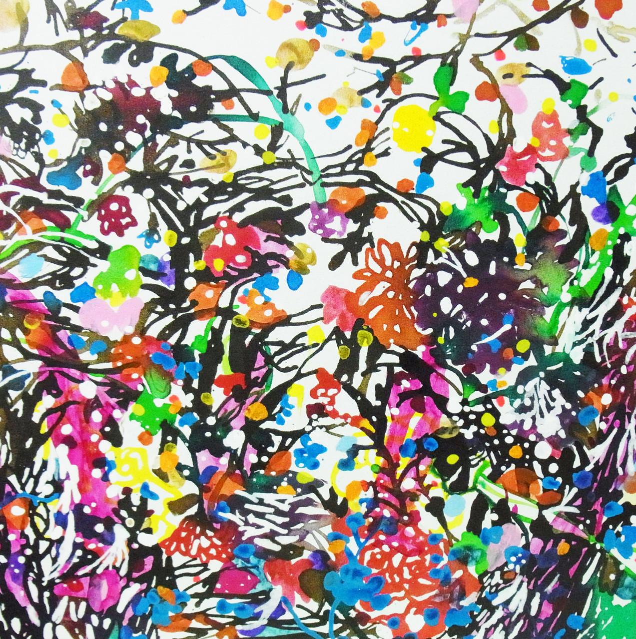 """""""サギがみていた空""""  acrylic on canvas 60.6×60.6cm,2014"""