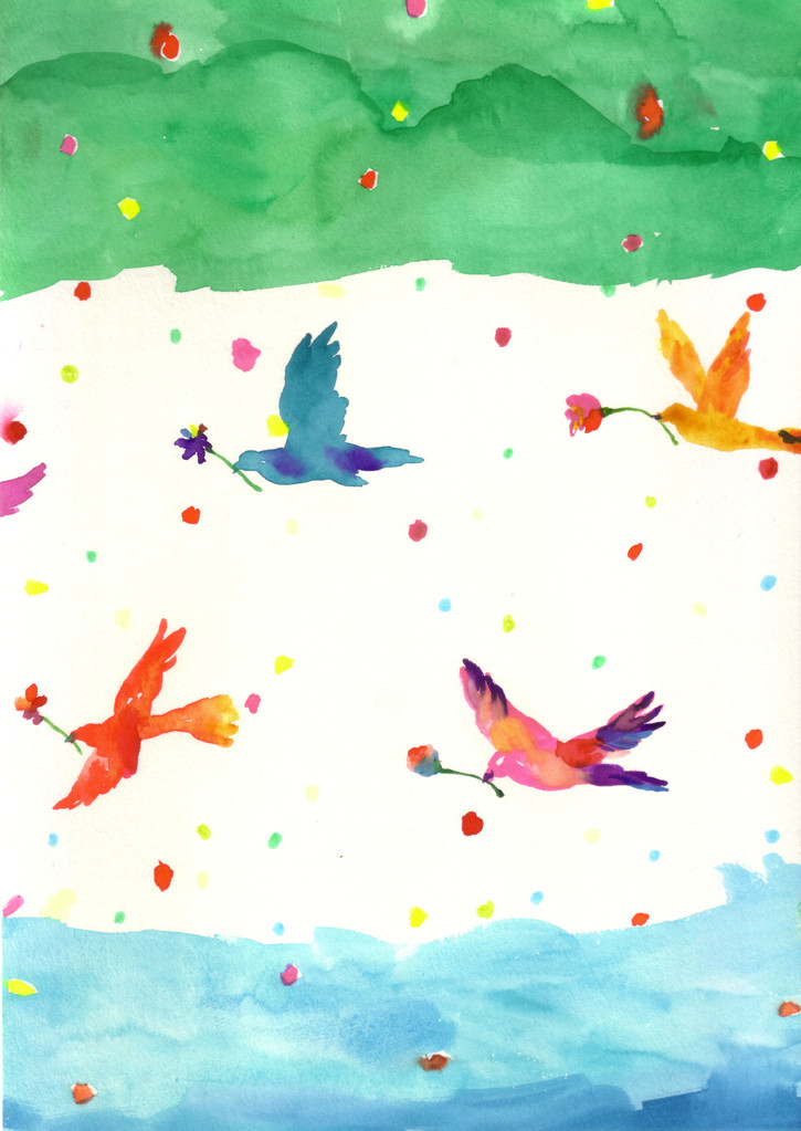 """birds""  watercolor,paper"