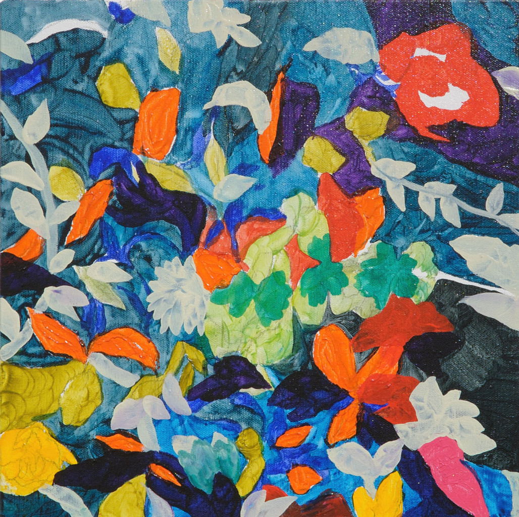 """隙間の花""   acrylic on canvas 33.3×33.3cm,2010"