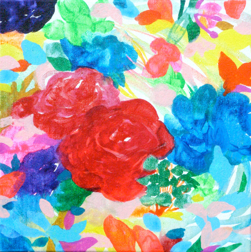 """5月の花束"" acrylic on canvas 22.7×22.7cm,2010"