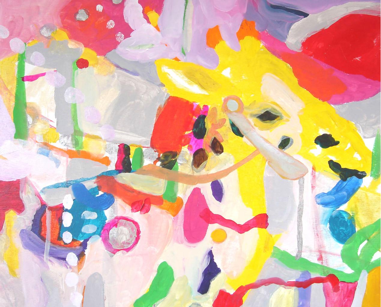 """""""遊園地(メリーゴーランド)""""   acrylic on panel 50.0×60.6cm,2006"""