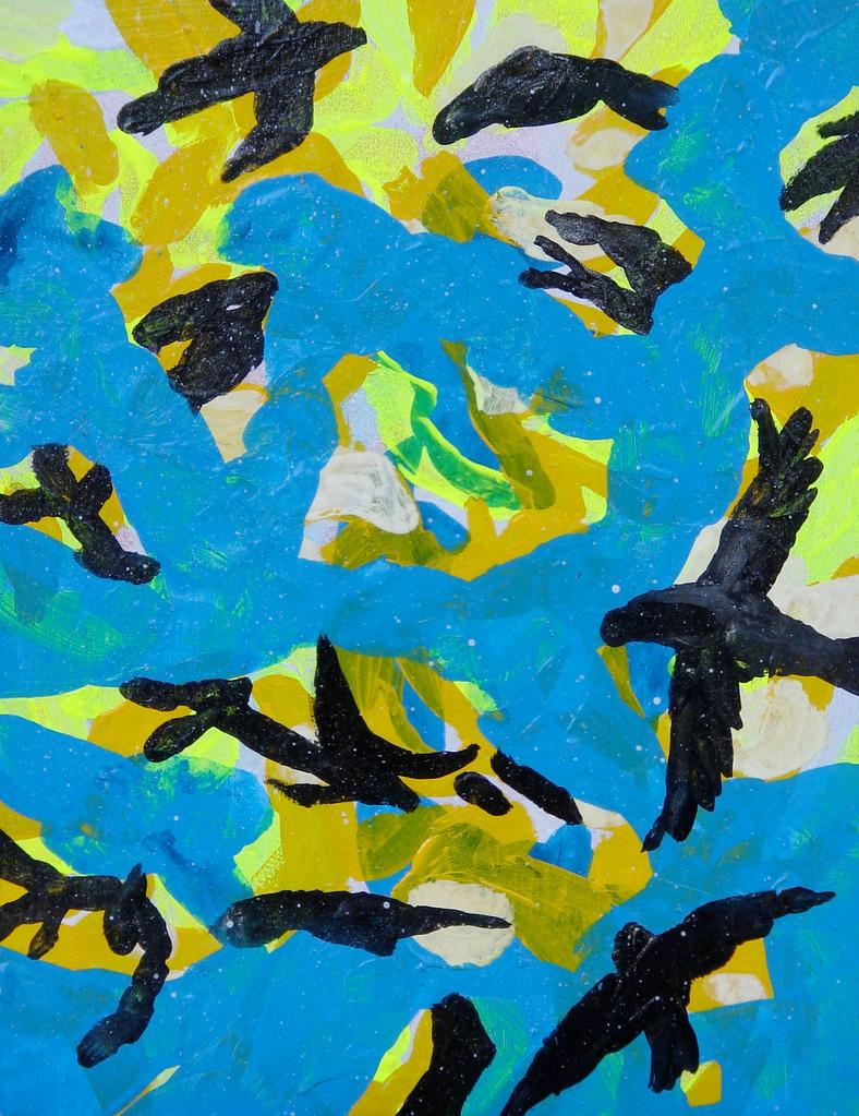 """""""見上げたカラス1-2 """"  acrylic on panel 14.0×18.0cm,2008"""