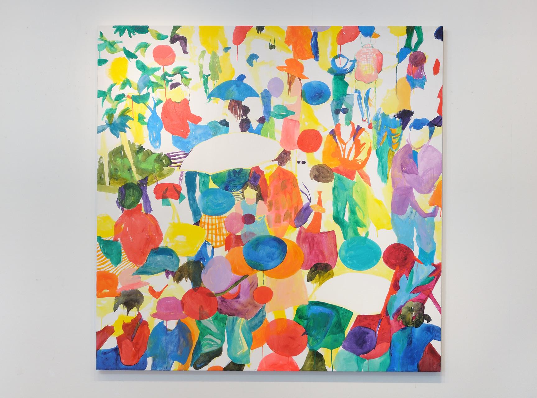 """""""いつか忘れる日曜日""""  acrylic on canvas 162×162cm,2011"""