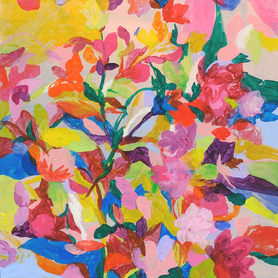 """花瓶の花""   acrylic on canvas 45.5×45.5cm,2010"