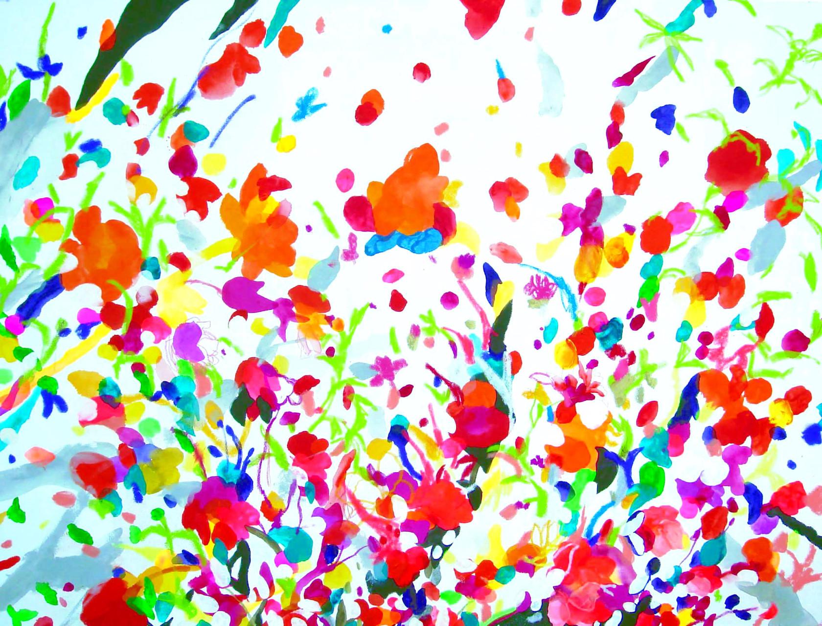 """""""散歩の音(風の音)""""  acrylic on canvas 93×130.3cm,2007"""