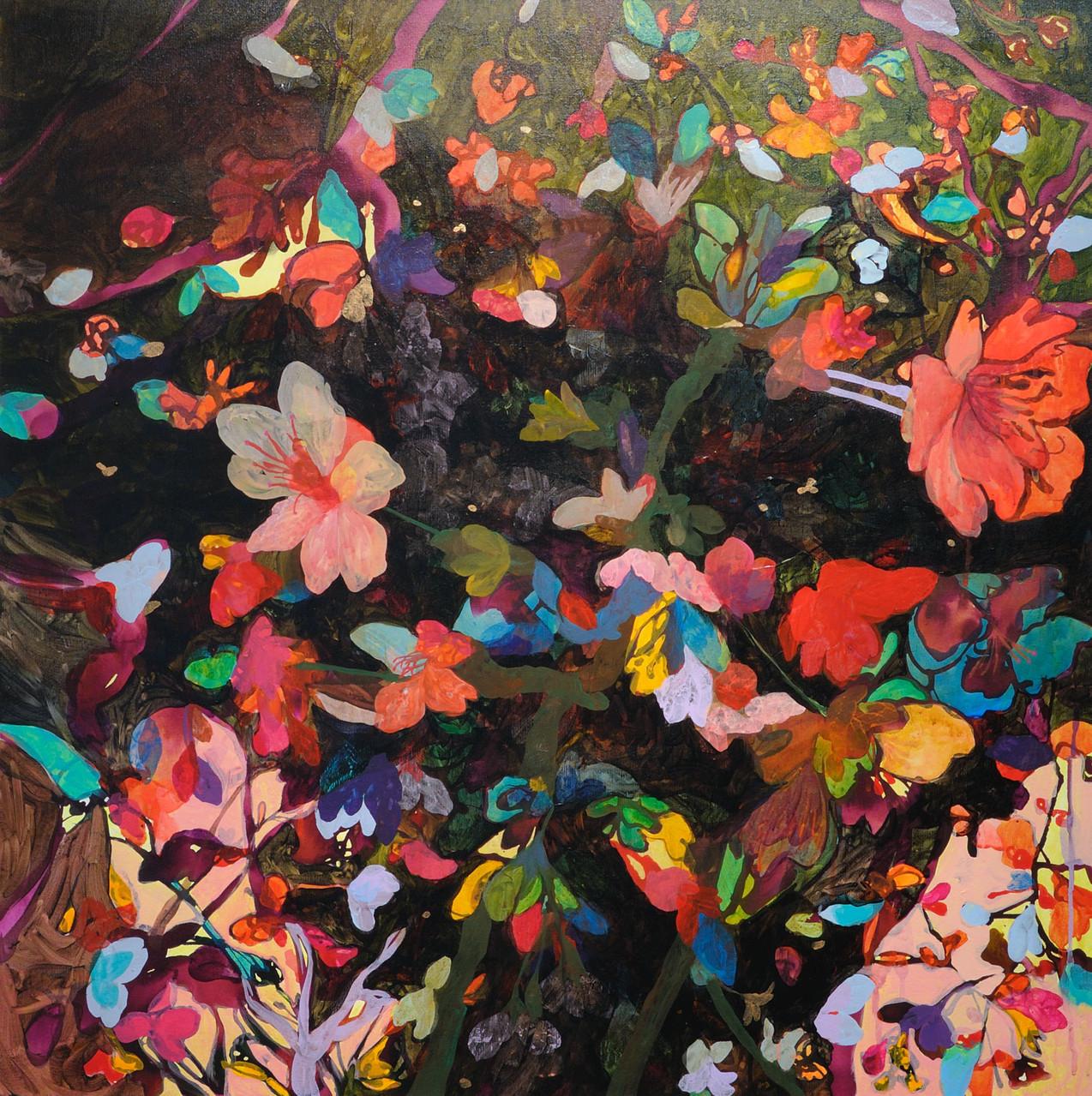 """色眼鏡-夜-""  acrylic on canvas 80.5×80.5cm,2010"