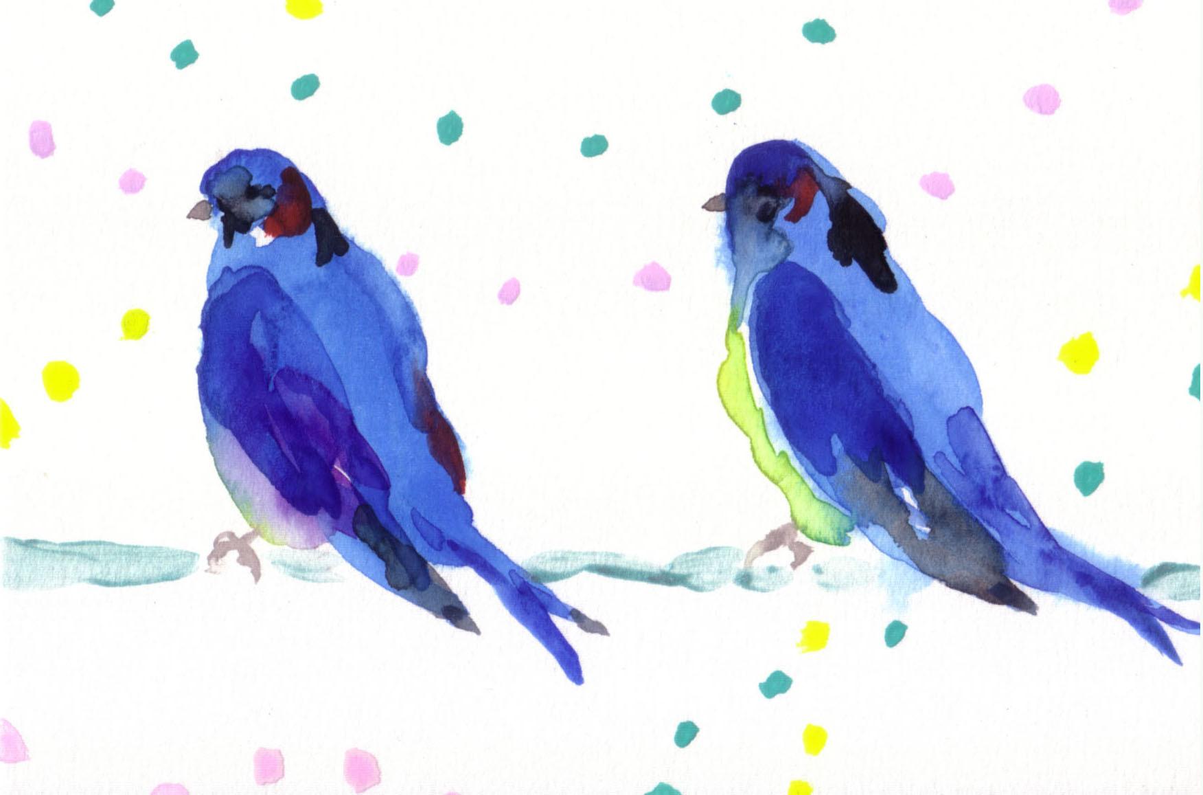 """""""ツバメとツバメ""""  watercolor,paper 10×14.8cm"""
