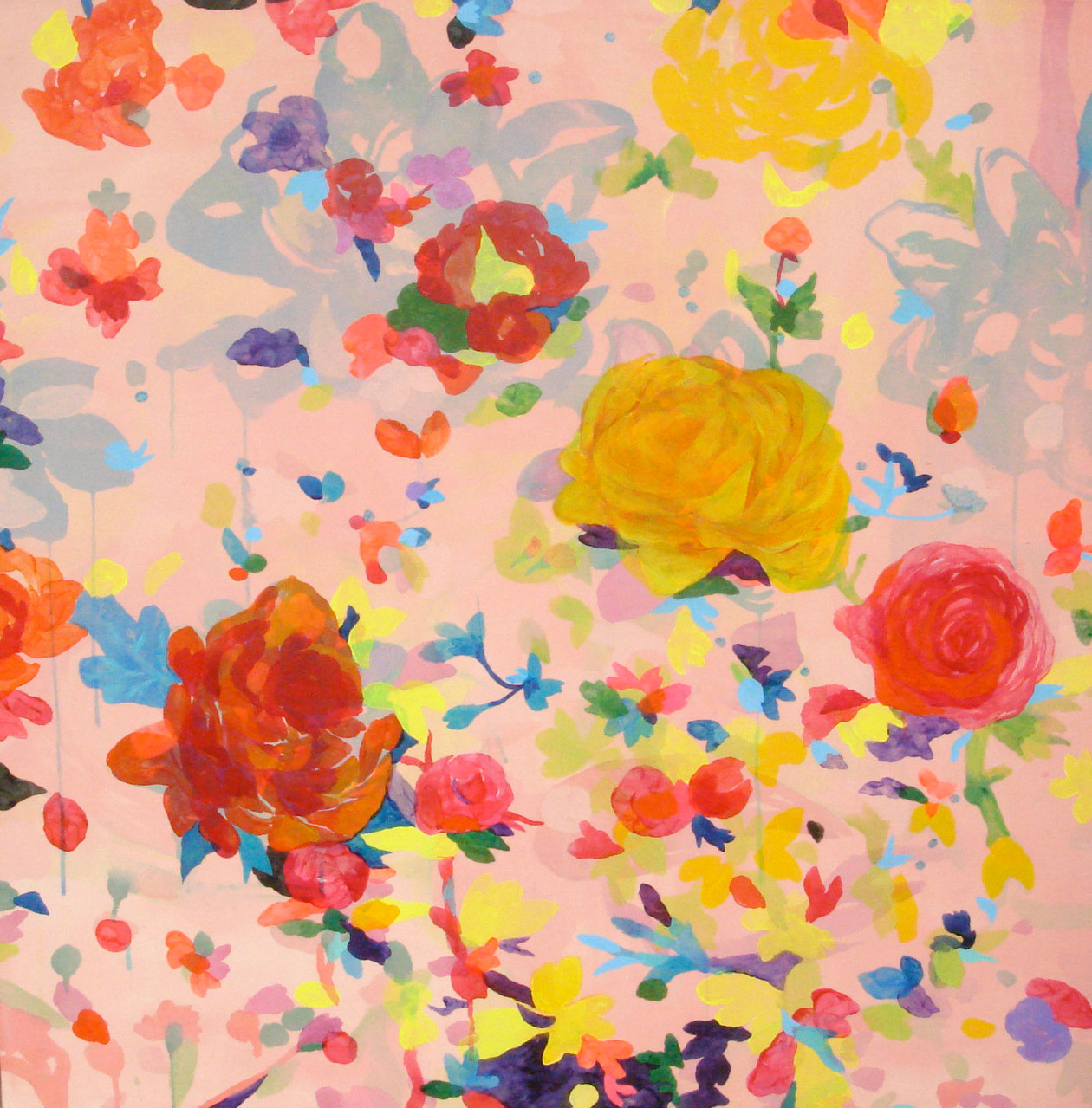 """ピンクの花""  acrylic on canvas 100×100cm,2009"