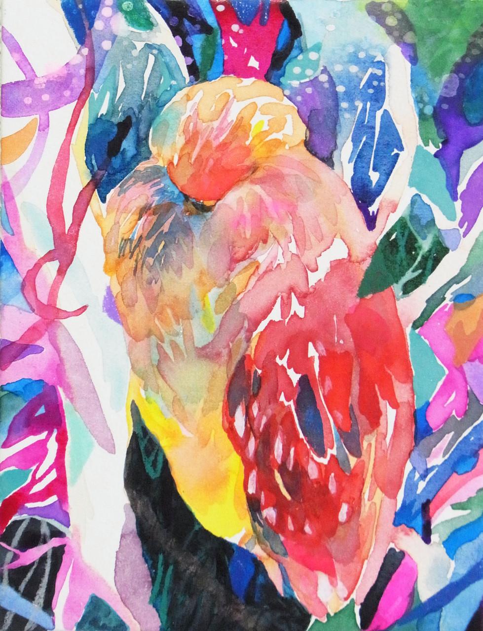 """""""サギがみていた空""""  watercolor,acrylic,paper 22.7×15.8cm,2014"""