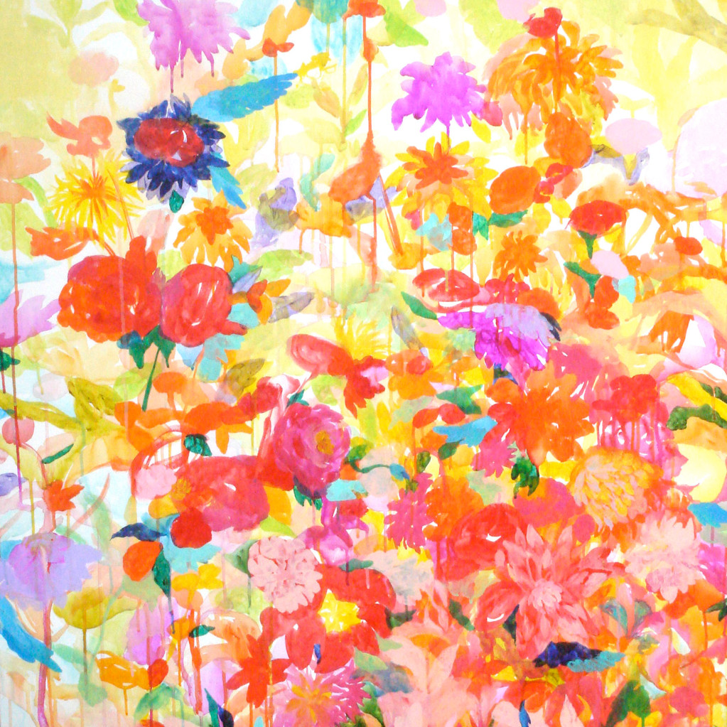 """鳥がいる森""   acrylic on canvas 100×100cm,2009"