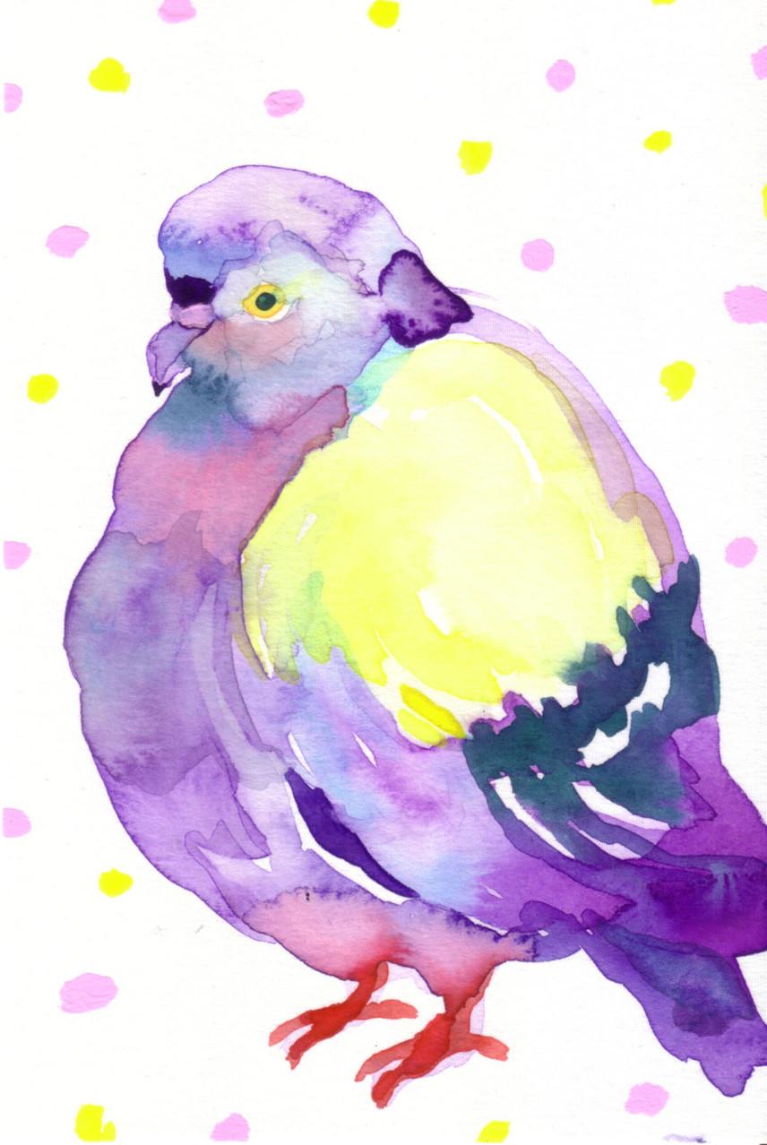 """""""鳩""""  water color,paper 10×14.8cm"""