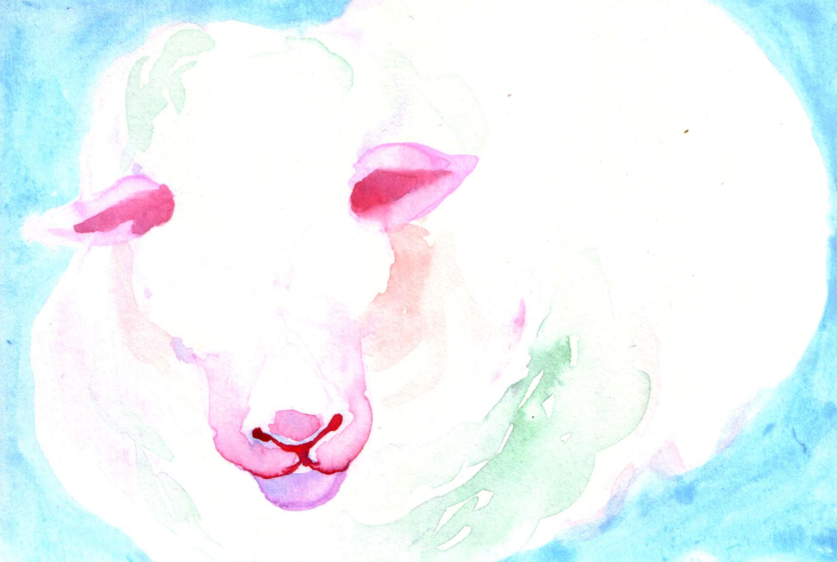 """""""羊""""  watercolor,paper 10×14.8cm"""