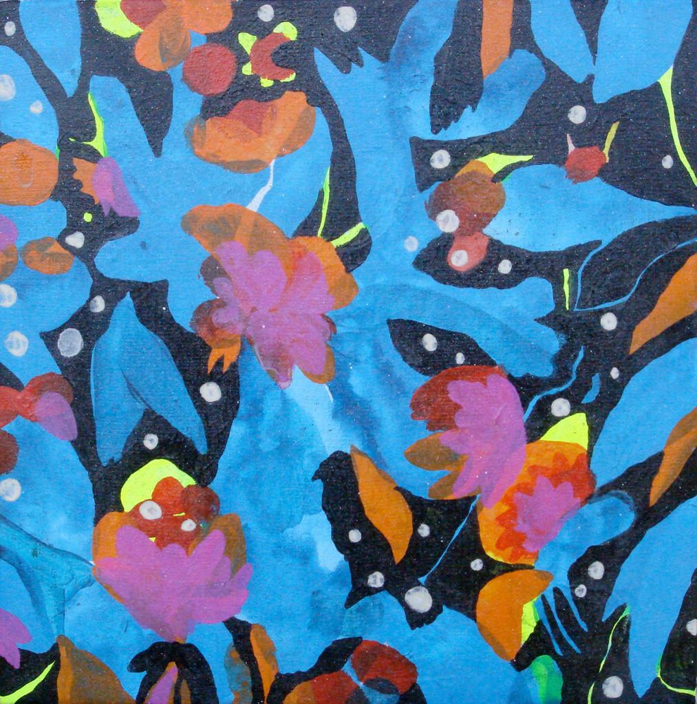 """""""夜の音1-2 """"  acrylic on canvas 23.0×23.0cm,2008"""