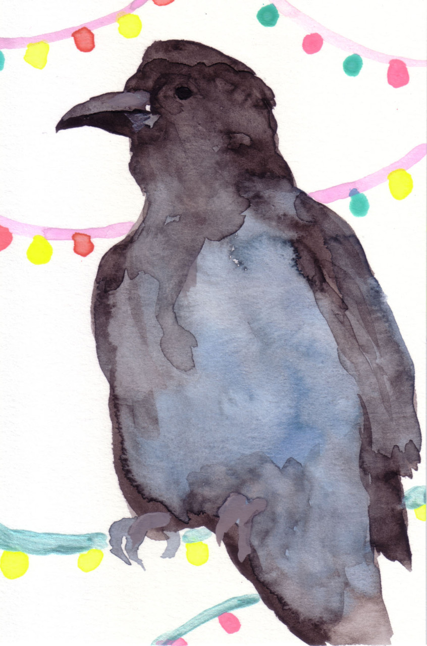"""""""カラス""""  watercolor,paper 10×14.8cm"""