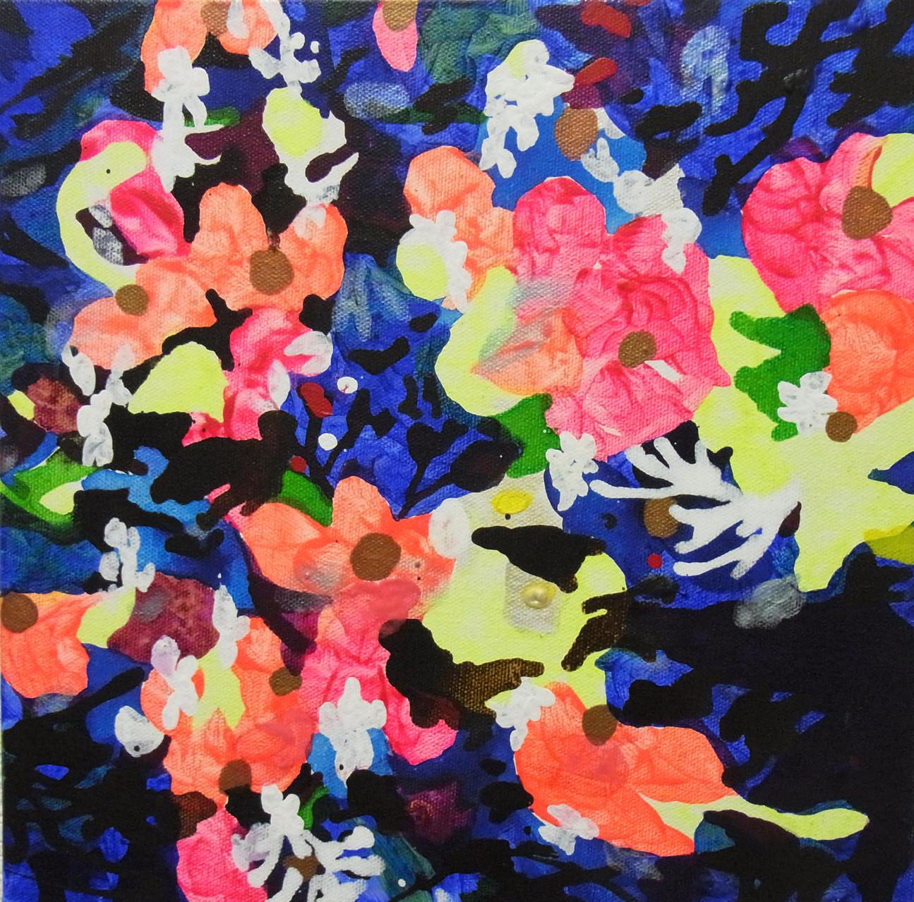 """""""サギがみていた空""""  acrylic on canvas 22.7×22.7cm,2014"""