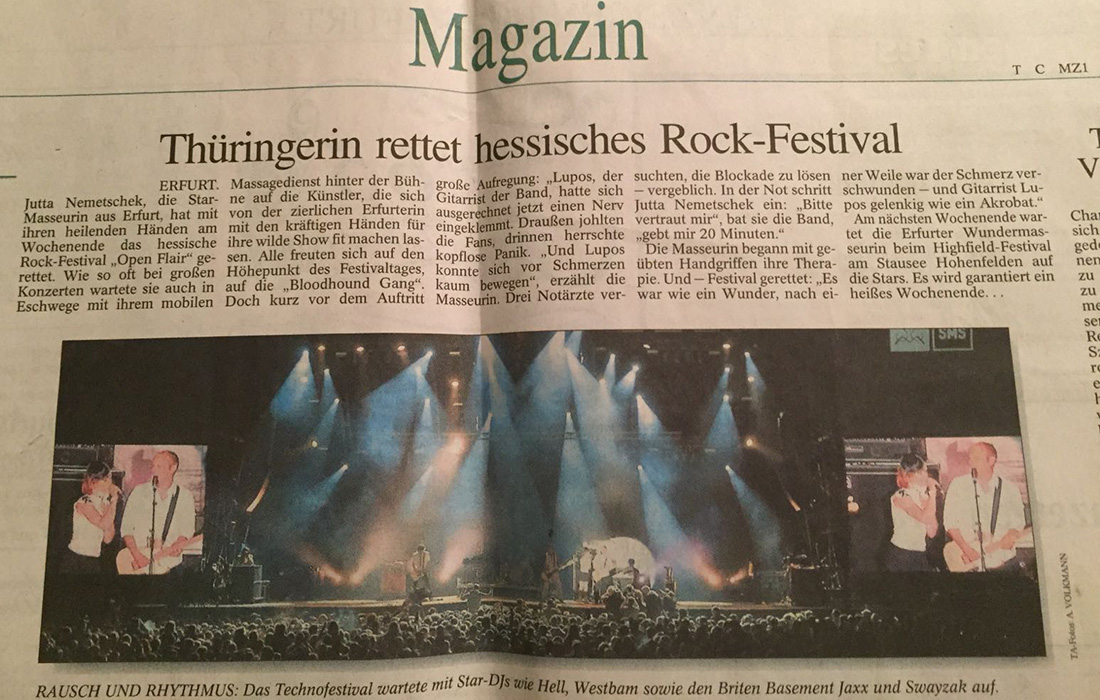 Thüringerin Jutta Rudolph rettet hessisches Rock Festival (Zeitungsausschnitt)