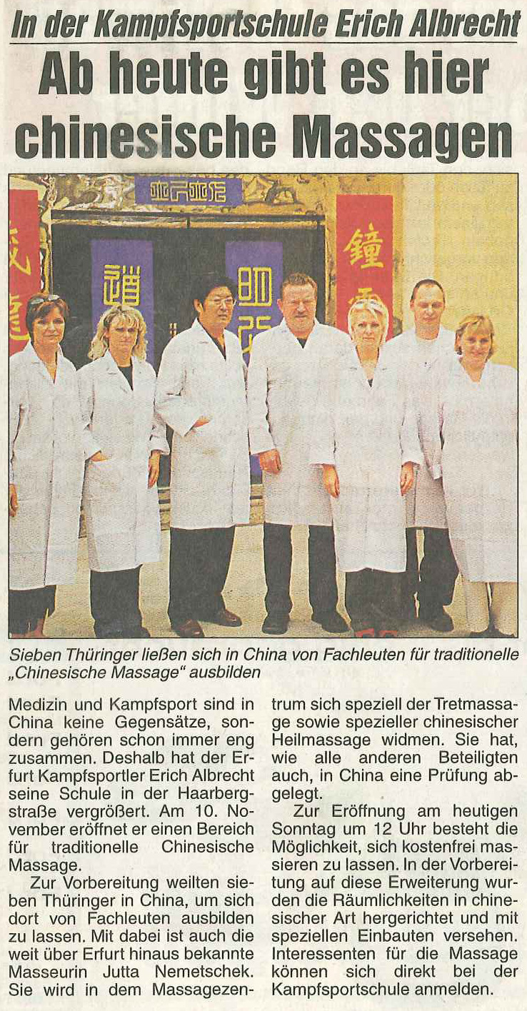 """""""Traditionelle Chinesische Heilmassage"""" - Weiterbildung in China (Zeitungsausschnitt)"""