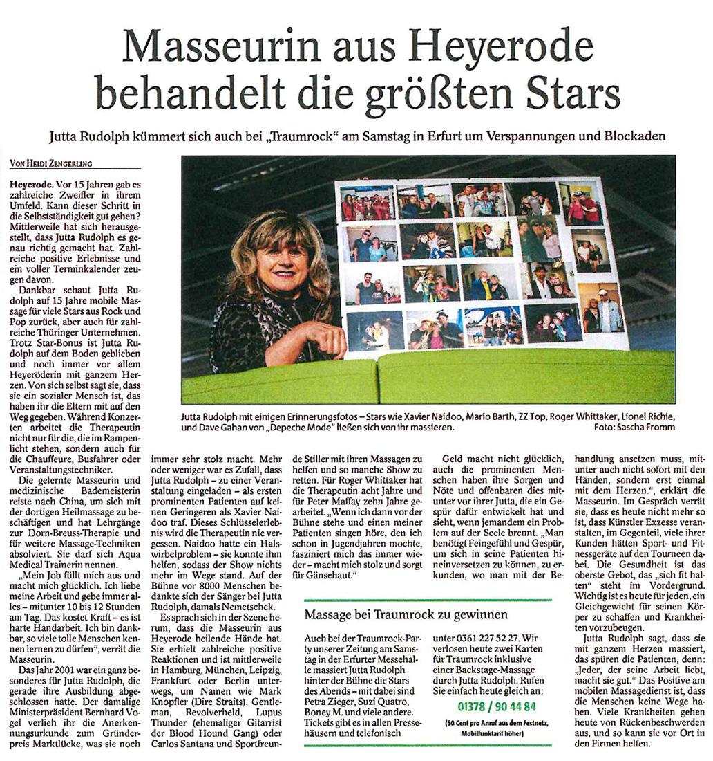 """Jutta Rudolph kümmert sich bei """"Traumrock"""" um Stars wie Xavier Naidoo (Zeitungsausschnitt)"""