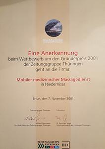 Gründerpreis 2001 -verliehen von der ZGT Thüringen