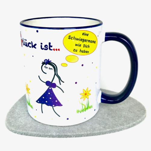 Geschenk Schwiegermutter Tasse mit Spruch Glückstasse