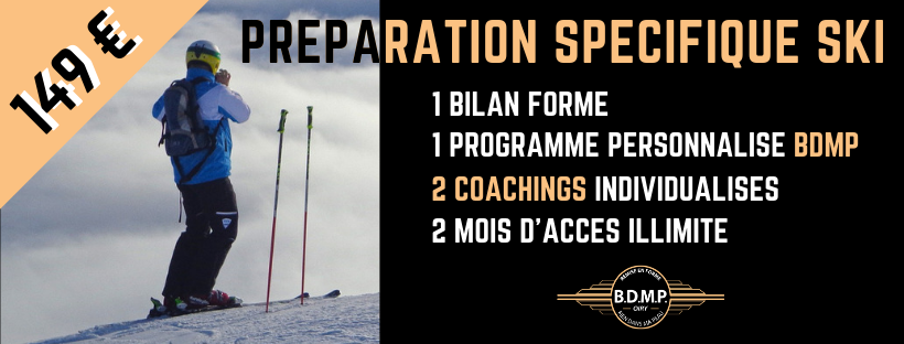 Préparation physique spécifique ski avec accompagnement Coaching, Bilan forme et accès illimité au Studio BDMP Oiry