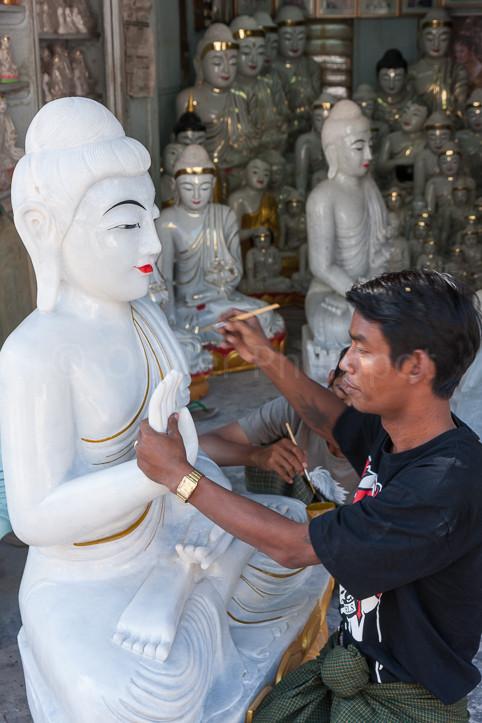 Birmanie - Mandalay - Artisanat du marbre