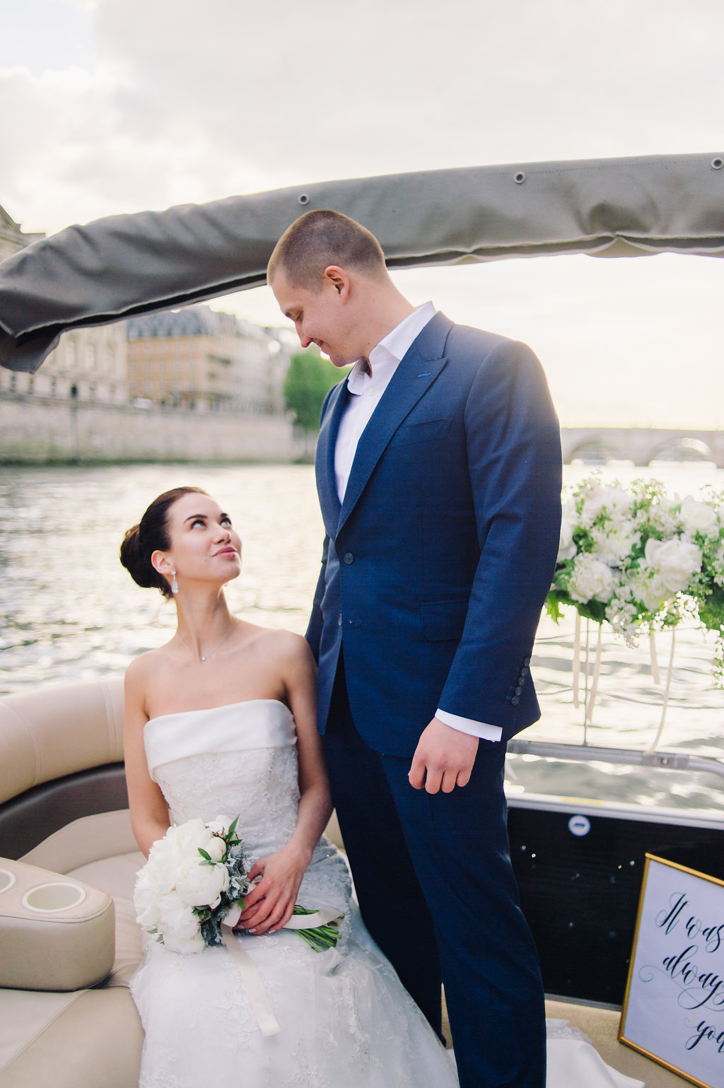 wedding cocktail on a private boat in Paris