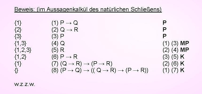 Mathematische Logik: 1. Ableitung im Kalkül des natürlichen Schließens (Aussagenlogik)