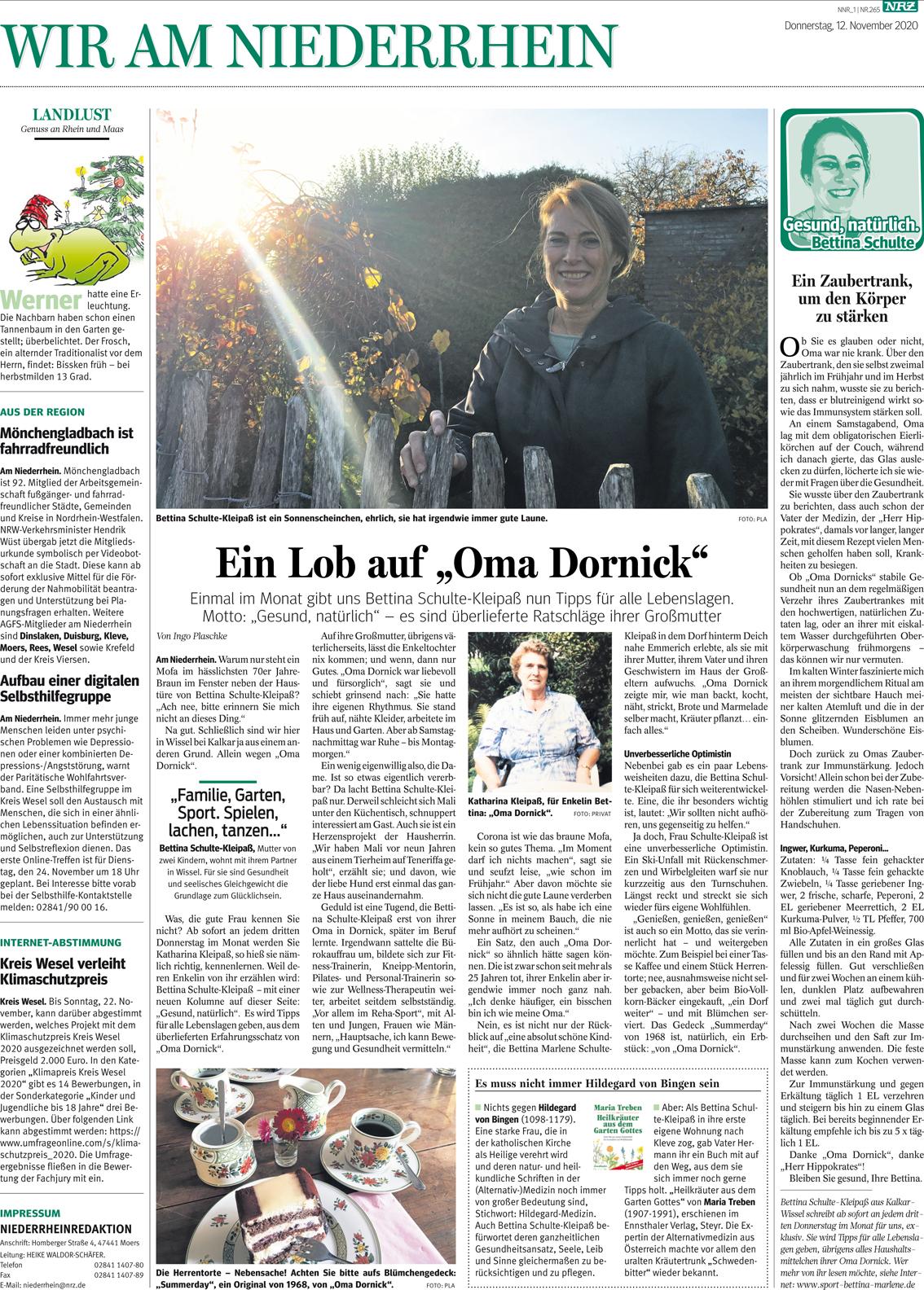 Zeitungsartikel mit Bettina Schulte-Kleipaß mit Tipps für alle Lebenslagen.