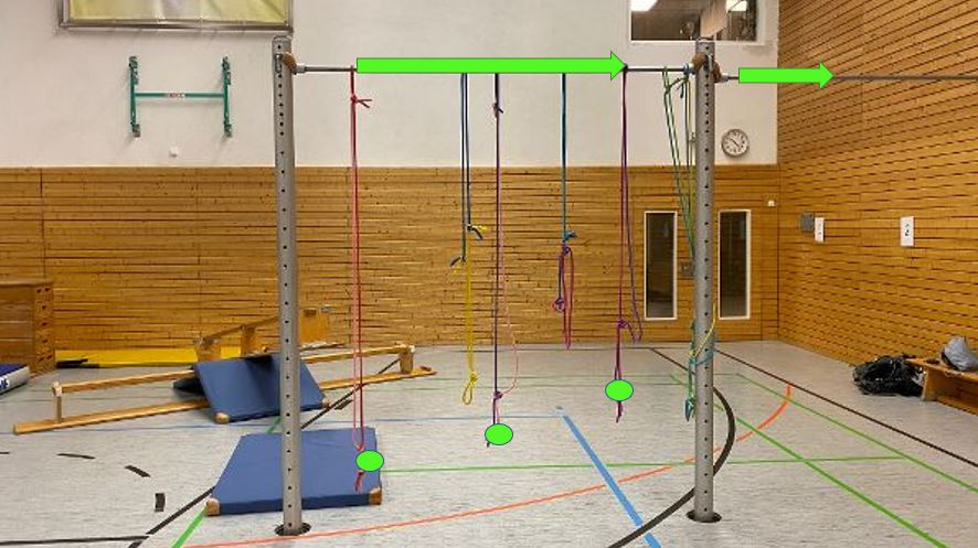 Station 9: nutze die Seile um rüber zu kommen