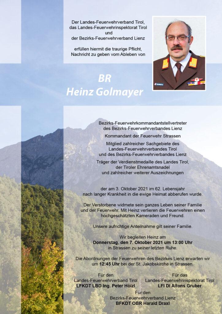Ableben BFK STV. Heinz Golmayer