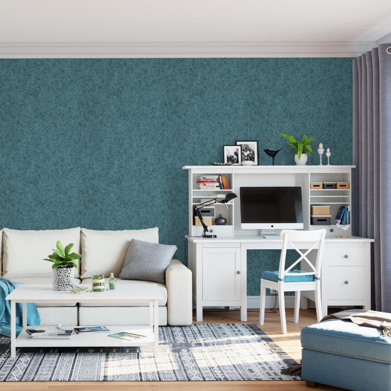 Filz-Tapete in hellblau - schön mit weißen Möbeln