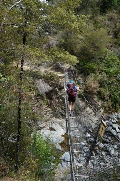 Eine der abenteuerlichen Hängebrücken über den Pelorus River
