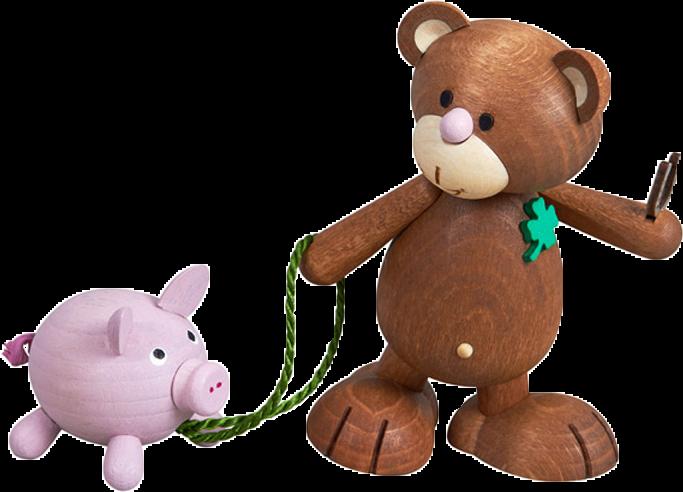 Kunibärt das Glücksbärchen mit Schwein Borsti, Kleeblatt, Hufeisen, Glück, Holz, Bär, Teddy, Teddybär, Geschenk